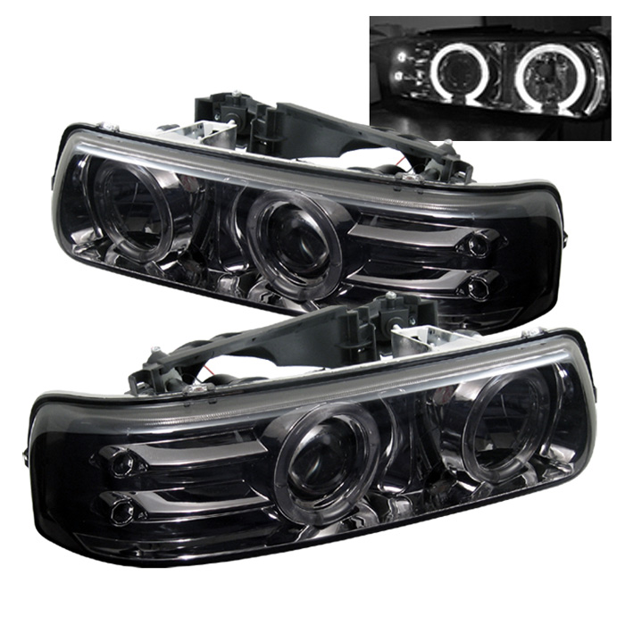 Chevrolet Tahoe  2000-2006 Halo LED Projector Headlights  - Smoke