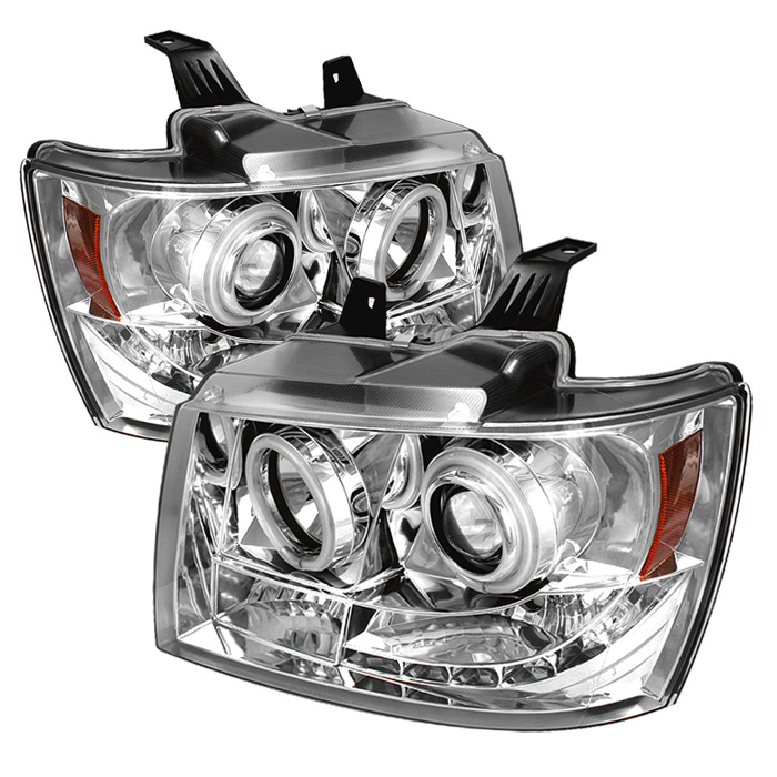 Chevrolet Avalanche  2007-2011 Ccfl LED Projector Headlights  - Chrome
