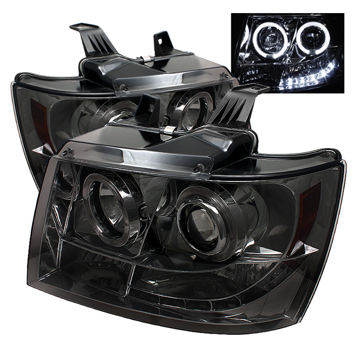 Chevrolet Avalanche  2007-2011 Halo LED Projector Headlights  - Smoke