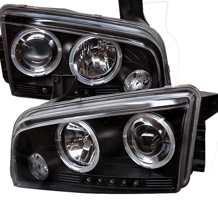 Dodge Charger ( Non Hid ) 2006-2010 Halo LED Projector Headlights  - Black