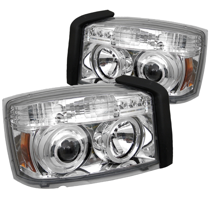 Dodge Dakota  2005-2007 Halo LED Projector Headlights  - Chrome