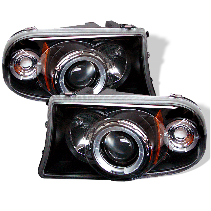 Dodge Dakota  1997-2004 1pc Halo LED Projector Headlights  - Black
