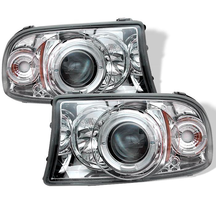 Dodge Dakota  1997-2004 1pc Halo LED Projector Headlights  - Chrome
