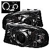 1997 Dodge Dakota   1pc Halo LED Projector Headlights  - Smoke