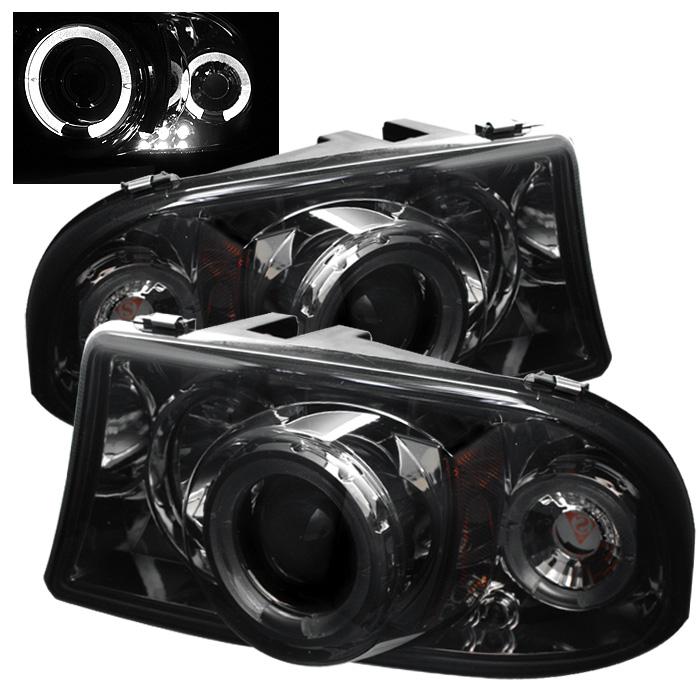 Dodge Dakota  1997-2004 1pc Halo LED Projector Headlights  - Smoke