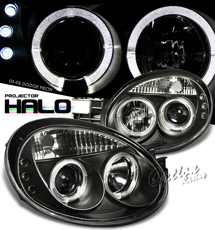 Dodge Neon 2003-2005  Black W/ Halo Projector Headlights