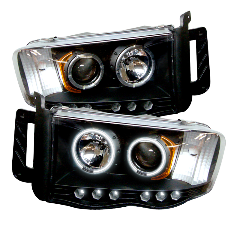 Dodge Ram 1500/2500/3500 2002-2005 Ccfl LED Projector Headlights  - Black