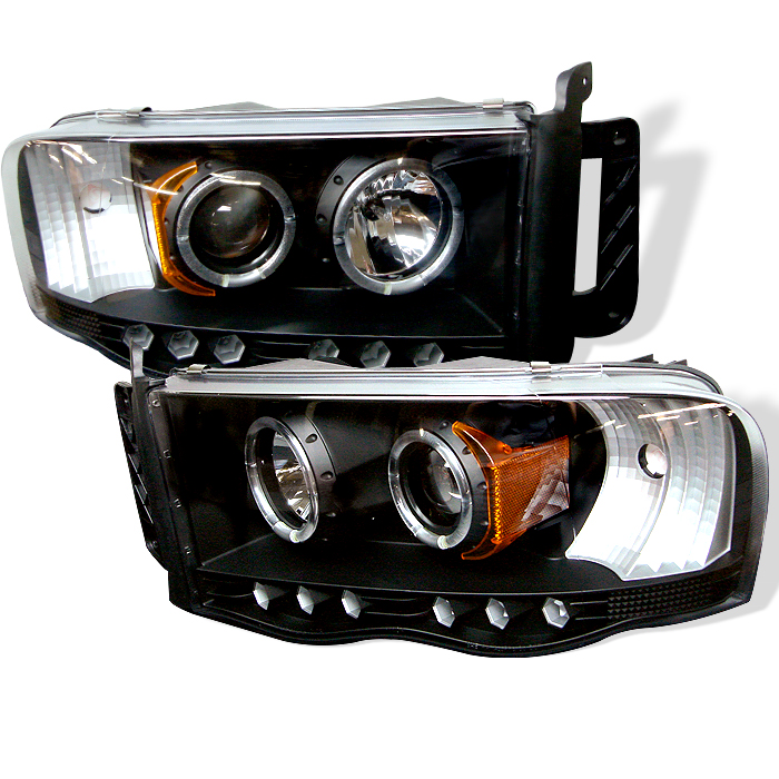 Dodge Ram 1500/2500/3500 2002-2005 Halo LED Projector Headlights  - Black