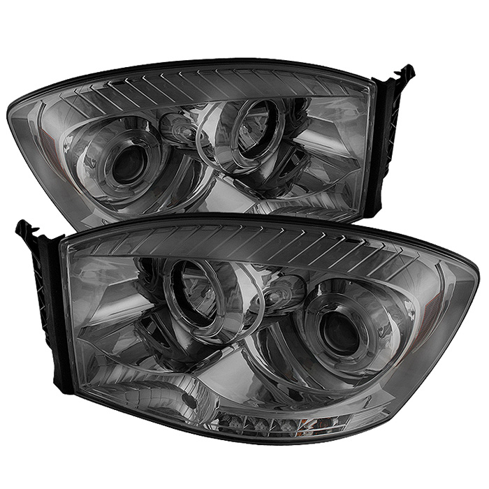 Dodge Ram 1500/2500/3500 2006-2008 Halo LED Projector Headlights  - Smoke