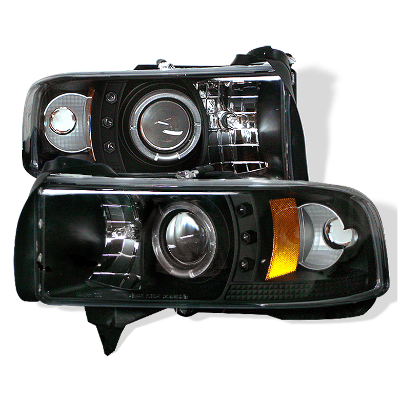 Dodge Ram 1500/2500/3500 1994-2001 1pc Ccfl LED Projector Headlights  - Black