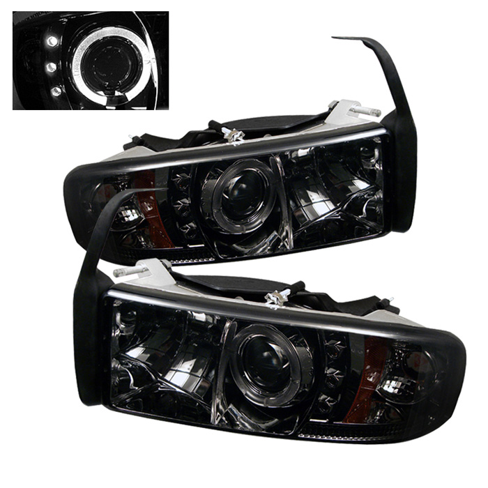 Dodge Ram 1500/2500/3500 1994-2001 1pc Halo LED Projector Headlights  - Smoke