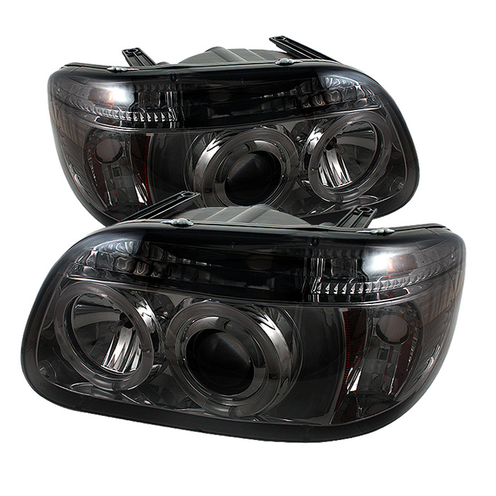 Ford Explorer  1995-2001 1pc Halo Projector Headlights  - Smoke