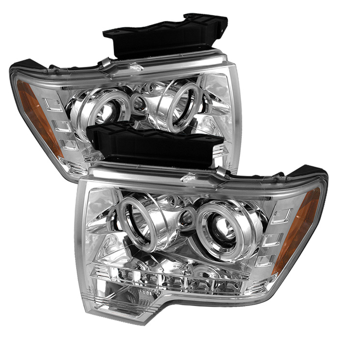 Ford F150  2009-2012 Ccfl LED Projector Headlights  - Chrome