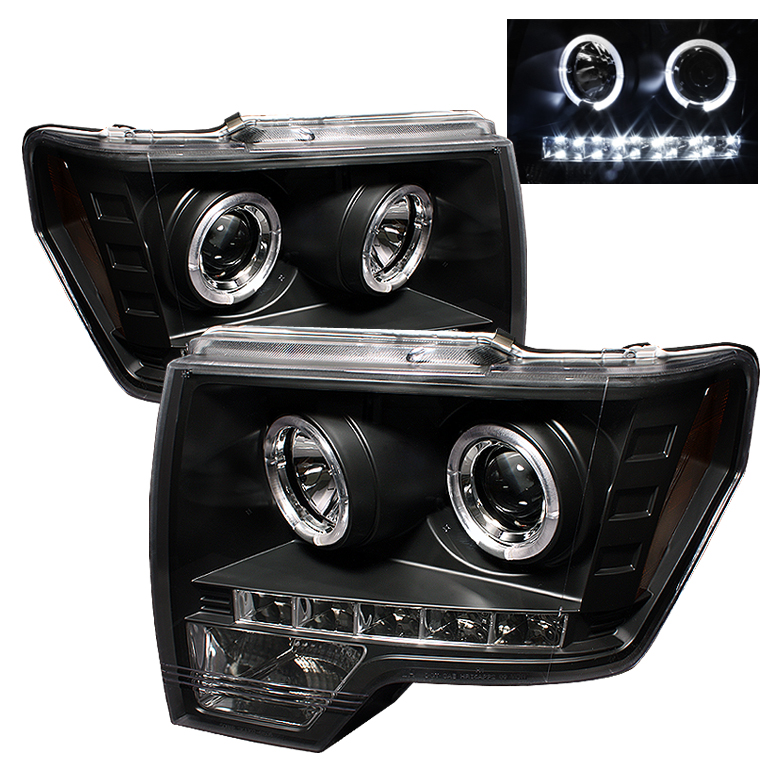 Ford F150  2009-2012 Halo LED Projector Headlights  - Black