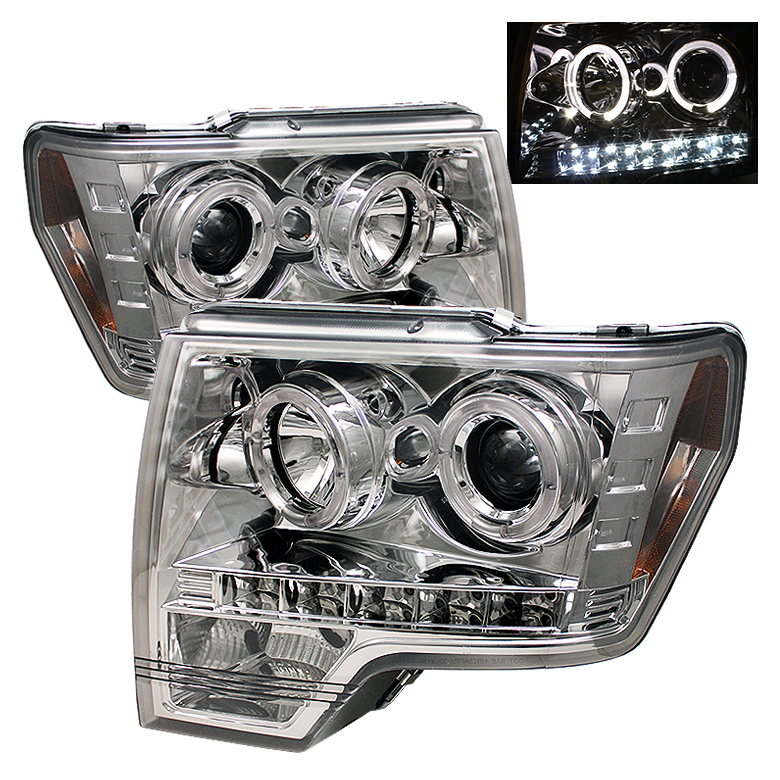 Ford F150  2009-2012 Halo LED Projector Headlights  - Chrome