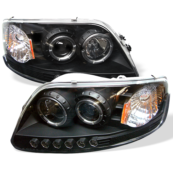 Ford F150  1997-2003 1pc Halo LED Projector Headlights  - Black