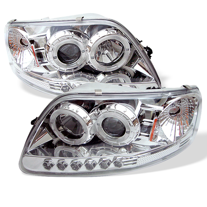 Ford F150  1997-2003 1pc Halo LED Projector Headlights  - Chrome
