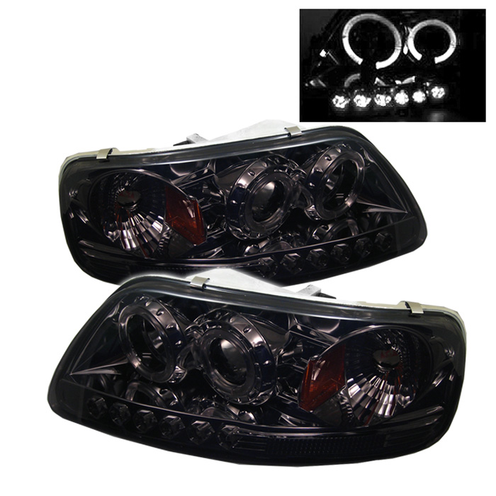 Ford F150  1997-2003 1pc Halo LED Projector Headlights  - Smoke