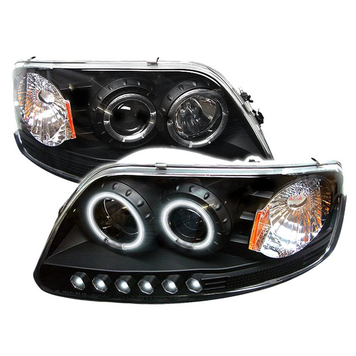 1997-2002 Ford Expedition Chrome Halo LED Projector Headlights+Tail Lamp