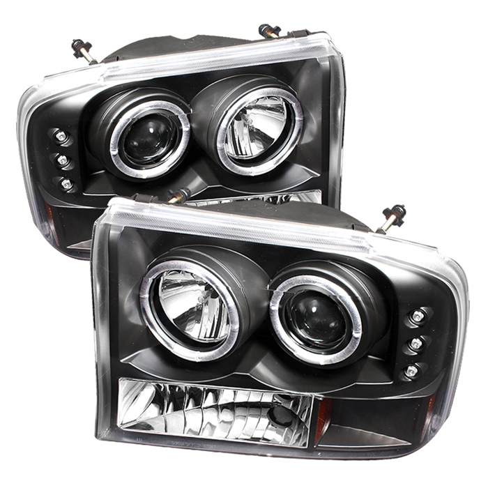 Ford Super Duty F250 1999-2004 1pc Dual Halo LED Projector Headlights  - Black