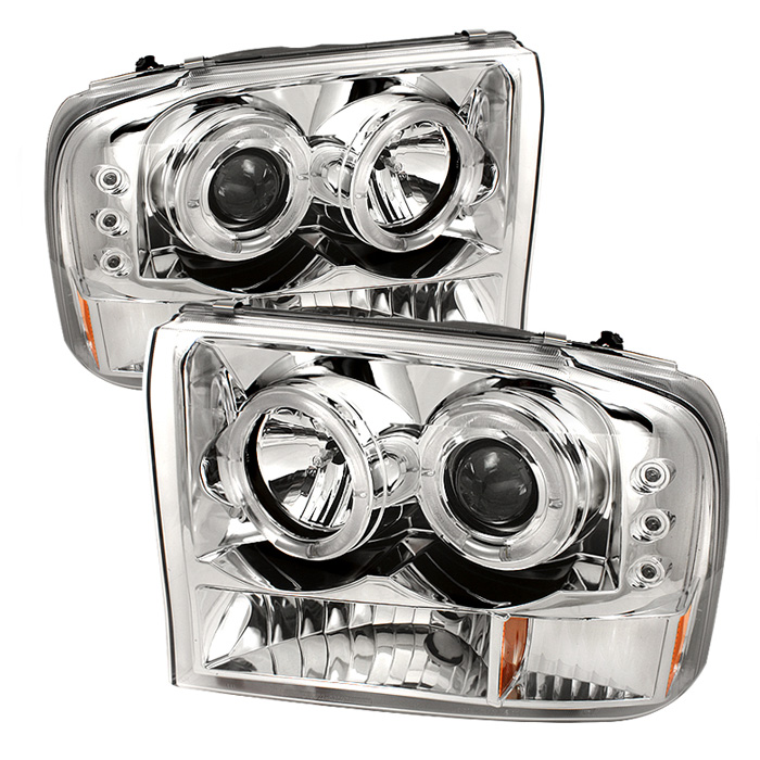 Ford Super Duty F250 1999-2004 1pc Dual Halo LED Projector Headlights  - Chrome