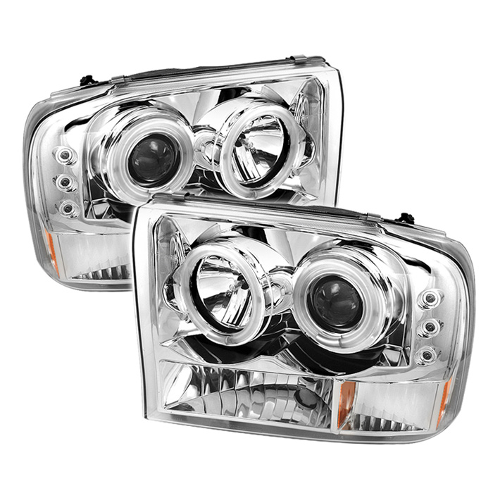 Ford Excursion  2000-2005 1pc Ccfl LED Projector Headlights  - Chrome