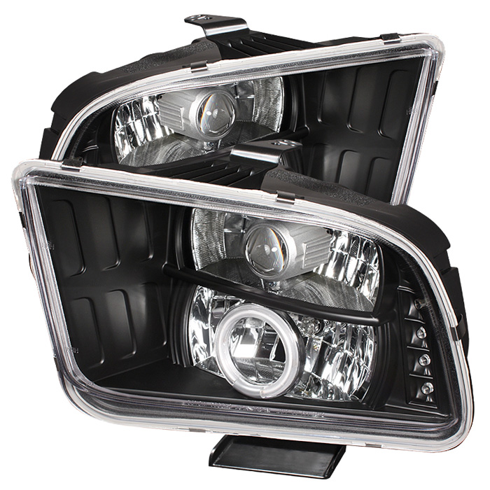 Ford Mustang  2005-2009 Ccfl LED Projector Headlights  - Black