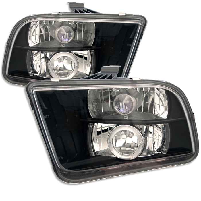 Ford Mustang  2005-2009 Halo LED Projector Headlights  - Black