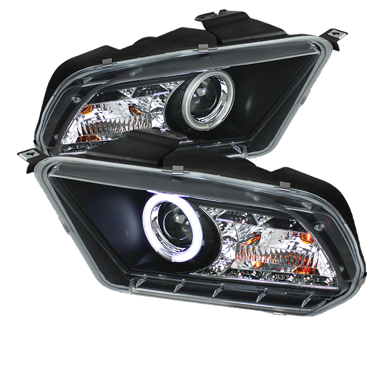Ford Mustang ( Non Hid. Non Gt ) 2010-2011 Ccfl Drl LED Projector Headlights  - Black