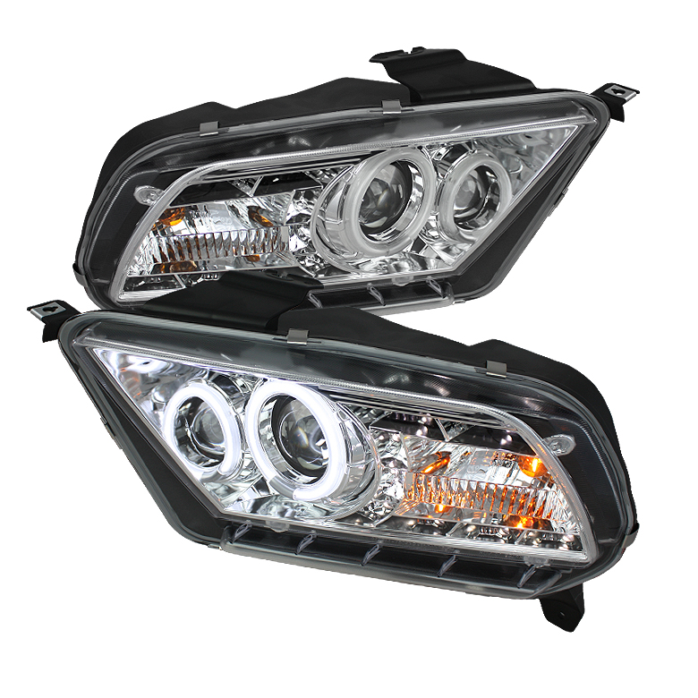 Ford Mustang ( Non Hid. Non Gt ) 2010-2011 Ccfl Drl LED Projector Headlights  - Chrome