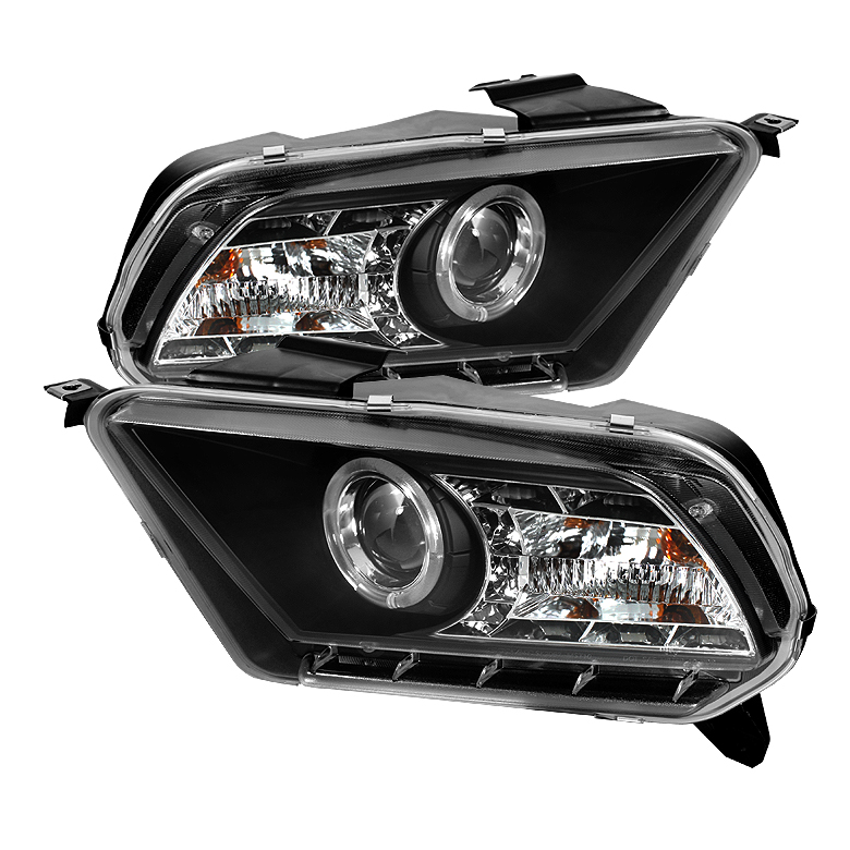 Ford Mustang ( Non Hid. Non Gt ) 2010-2011 Halo Drl LED Projector Headlights  - Black