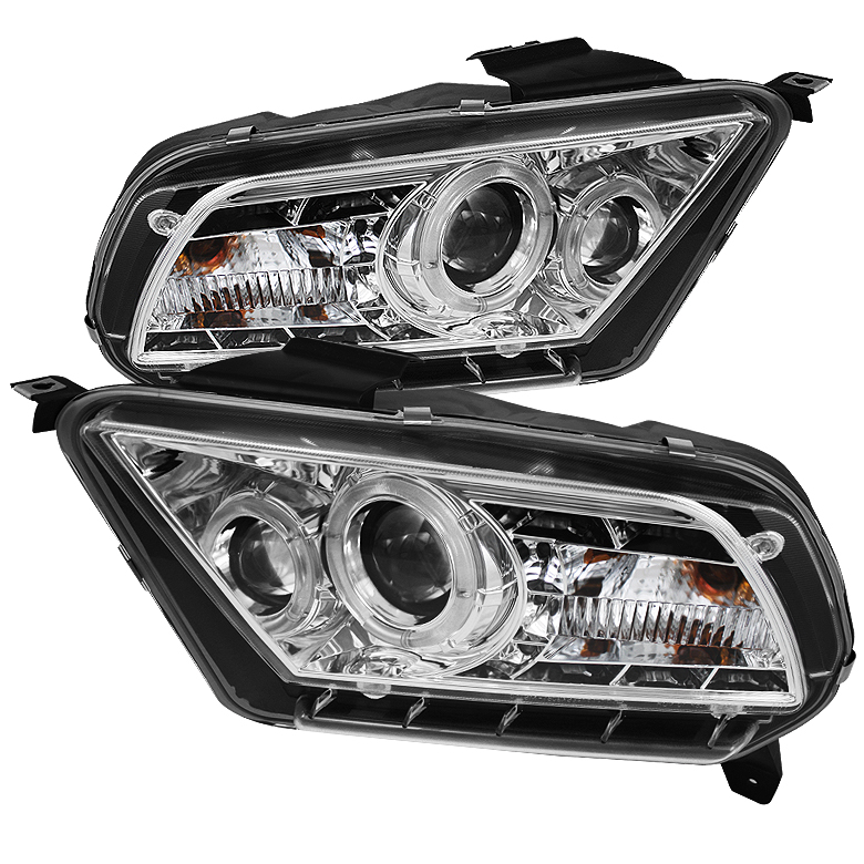 Ford Mustang ( Non Hid. Non Gt ) 2010-2011 Halo Drl LED Projector Headlights  - Chrome