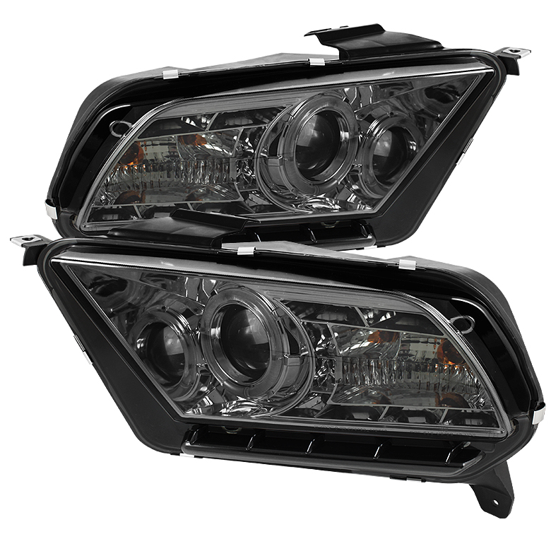 Ford Mustang ( Non Hid. Non Gt ) 2010-2011 Halo Drl LED Projector Headlights  - Smoke