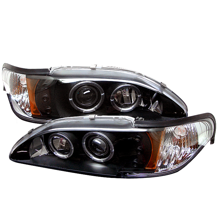 Ford Mustang  1994-1998 1pc Halo LED Projector Headlights  - Black