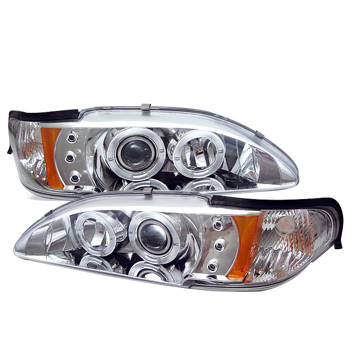 Ford Mustang  1994-1998 1pc Halo LED Projector Headlights  - Chrome