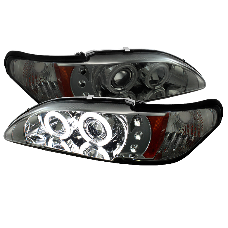 Ford Mustang  1994-1998 1pc Ccfl LED Projector Headlights  - Smoke