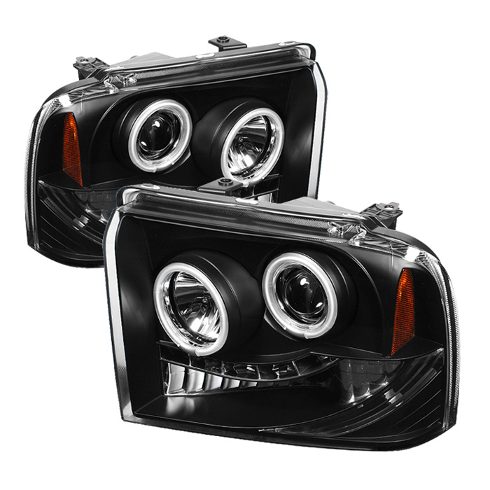 Ford Super Duty F250/350/450 2005-2007 Ccfl LED Projector Headlights  - Black