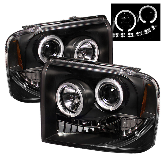 Ford Super Duty F250/350/450 2005-2007 Halo LED Projector Headlights  - Black
