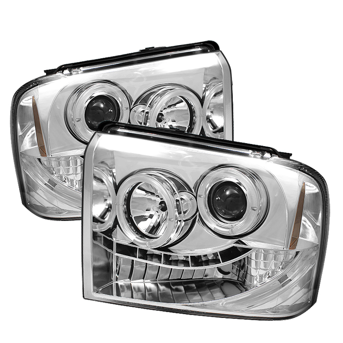Ford F150 2005-2007 Chrome Halo LED Projector Headlights by