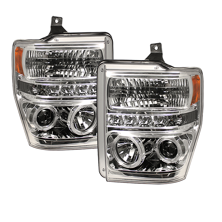 Ford Super Duty F250/350/450 2008-2010 Ccfl LED Projector Headlights  - Chrome