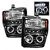 2008 Ford Super Duty F250/350/450  Halo LED Projector Headlights  - Black