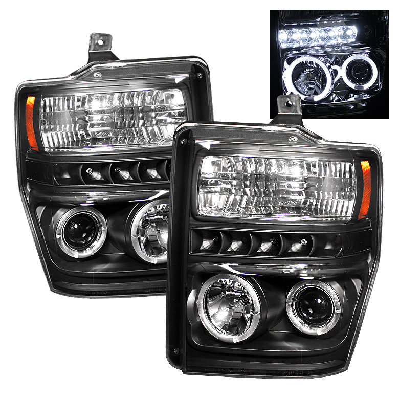 Ford Super Duty F250/350/450 2008-2010 Halo LED Projector Headlights  - Black