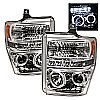 2010 Ford Super Duty F250/350/450  Halo LED Projector Headlights  - Chrome