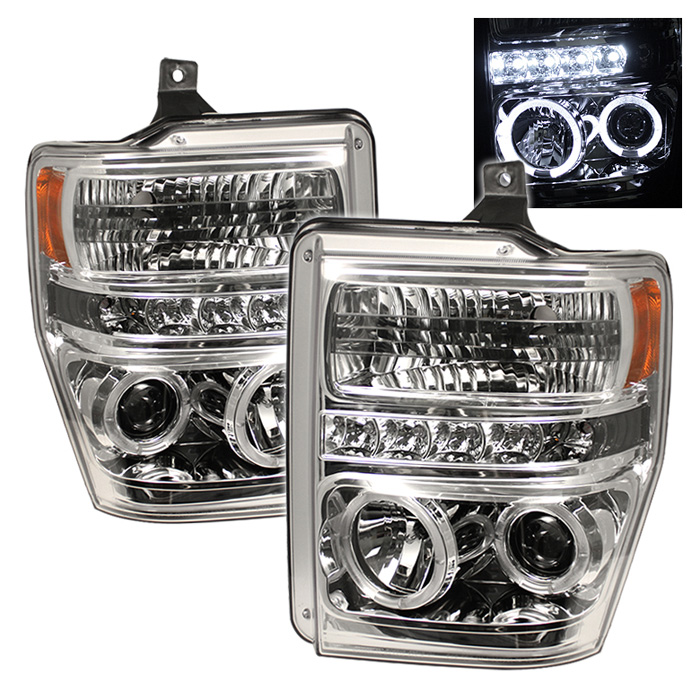 Ford Super Duty F250/350/450 2008-2010 Halo LED Projector Headlights  - Chrome