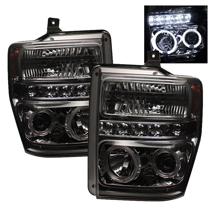Ford Super Duty F250/350/450 2008-2010 Halo LED Projector Headlights  - Smoke