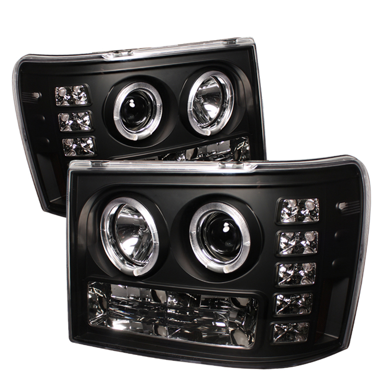 Gmc Sierra 1500/2500/3500 2007-2011 Halo LED Projector Headlights  - Black
