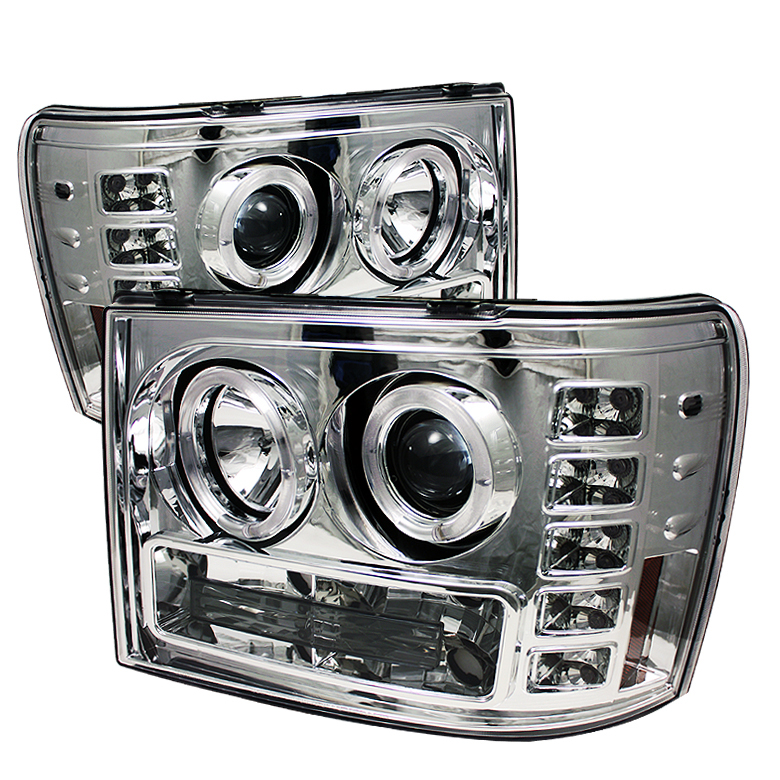 Gmc Sierra 1500/2500/3500 2007-2011 Halo LED Projector Headlights  - Chrome
