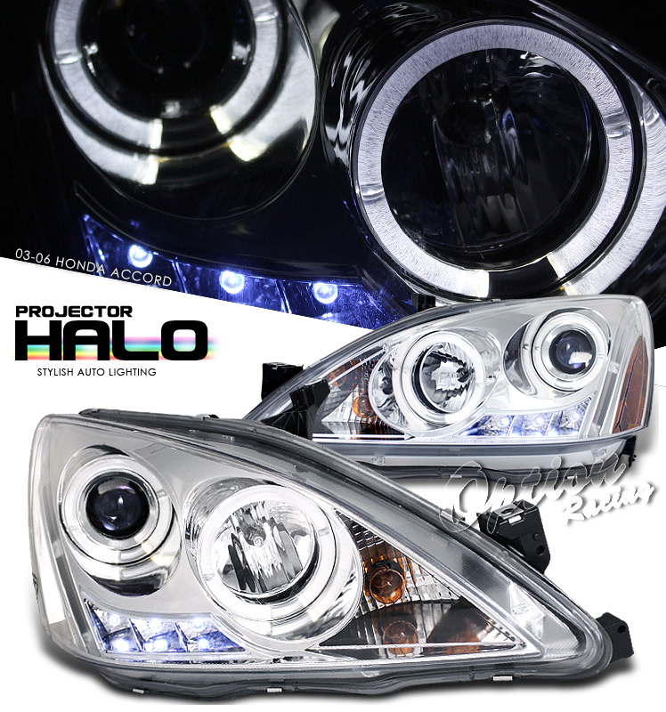 Honda Accord 2003-2006  Chrome W/ Halo Projector Headlights