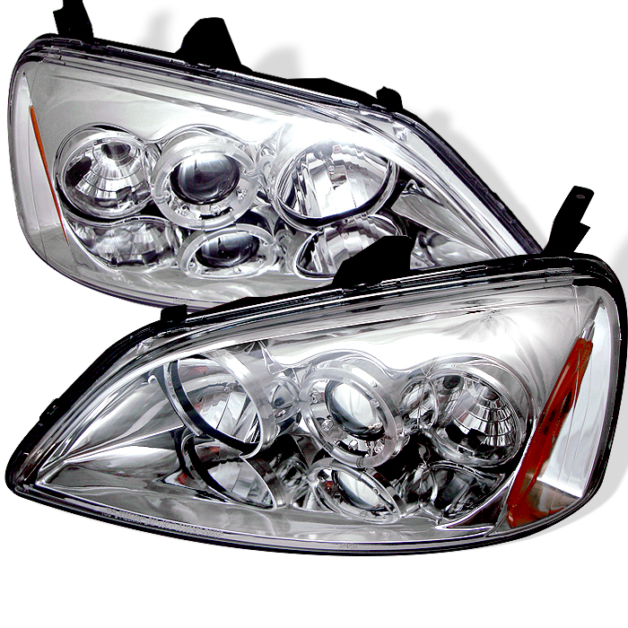 Honda Civic 2001-2003  2/4DR Chrome Halo Projector Headlights
