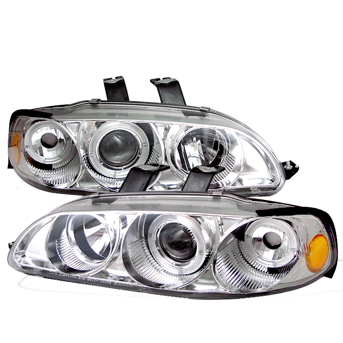 Honda Civic 1992-1995  4DR Chrome 1pc Halo Projector Headlights